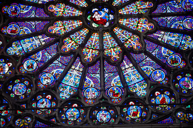 Medieval Rayonnant Gothic stained glass Rose window. The Gothic Cathedral Basilica of Saint Denis ( Basilique Saint-Denis ) Paris, France. A UNESCO World Heritage Site.