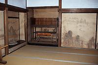 """Asie/Japon/Kyoto: Le temple de """"Ryoan-ji"""" - Détail d'une salle et peinture murale"""