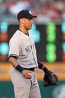 New York Yankees shortstop Derek Jeter #2 during a game against the Los Angeles Angels at Angel Stadium on September 10, 2011 in Anaheim,California. Los Angeles defeated New York 6-0.(Larry Goren/Four Seam Images)