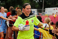 Sky Blue FC goalkeeper Jenni Branam (23) greets fans before the match. Sky Blue FC and the Boston Breakers played to a 0-0 tie during a Women's Professional Soccer (WPS) match at Yurcak Field in Piscataway, NJ, on June 12, 2011.