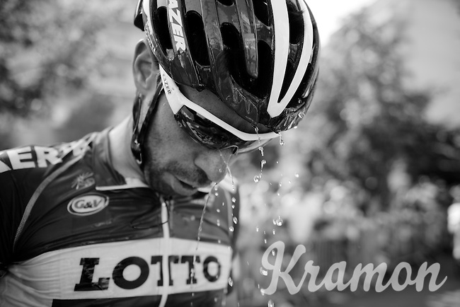 After finishing and being on the attack all day (caught with finish in sight) Thomas De Gendt (BEL/Lotto-Soudal) needs to drastically cool down from the soaring heat, but was rewarded with the combatants award afterward.<br /> <br /> stage 13: Muret - Rodez<br /> 2015 Tour de France