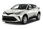 2021 Toyota C-HR LE 5 Door SUV Angular Front automotive stock photos of front three quarter view