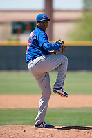 Chicago Cubs relief pitcher Riger Fernandez (47) prepares to deliver a pitch during an Extended Spring Training game against the Colorado Rockies at Sloan Park on April 17, 2018 in Mesa, Arizona. (Zachary Lucy/Four Seam Images)