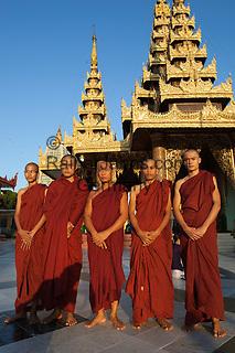Myanmar, (Burma), Yangon Region, Rangoon: Buddhist monks at the Shwedagon pagoda | Myanmar (Birma), Yangon-Division, Rangun: Buddhistische Moenche vor der Shwedagon Pagode