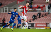 9th January 2021; Bet365 Stadium, Stoke, Staffordshire, England; English FA Cup Football, Carabao Cup, Stoke City versus Leicester City; Ryan Shawcross of Stoke City heads the ball back to his keeper