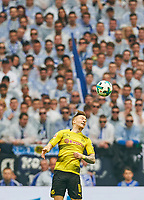 Marco REUS, BVB 11 header , header <br /> FC SCHALKE 04 -  BORUSSIA DORTMUND 2-0<br /> Football 1. Bundesliga , Gelsenkirchen,15.04.2018, 30. match day,  2017/2018 1.Bundesliga, BVB, S04, <br />  *** Local Caption *** © pixathlon<br /> Contact: +49-40-22 63 02 60 , info@pixathlon.de