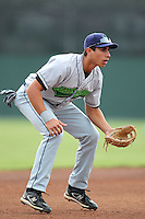 Jamestown Jammers third baseman Ryan Fisher during a game vs. the Batavia Muckdogs at Dwyer Stadium in Batavia, New York July 31, 2010.   Batavia defeated Jamestown 6-1.  Photo By Mike Janes/Four Seam Images