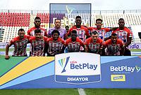 MONTERIA - COLOMBIA, 11-11-2020: Los jugadores de Atletico Junior posan para una foto, antes de partido entre Jaguares F. C. y Atletico Junior de la fecha 19 por la Liga BetPlay DIMAYOR 2020, en el estadio Jaraguay de Monteria de la ciudad de Monteria. / The players of Atletico Junior  pose for a photo, prior a match between Jaguares de Cordoba F.C., and Atletico Junior, of the 19th date for the Betplay DIMAYOR League 2020 at Jaraguay de Monteria Stadium in Monteria city. Photo: VizzorImage / Andres Lopez  / Cont.