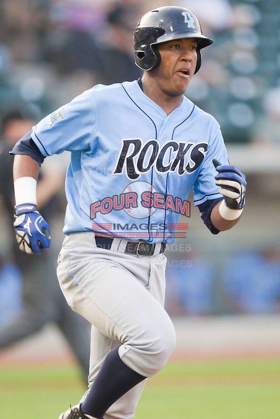 Salvador Perez #39 of the Wilmington Blue Rocks hustles down the first base line against the Winston-Salem Dash at  BB&T Ballpark August 4, 2010, in Winston-Salem, North Carolina.  Photo by Brian Westerholt / Four Seam Images