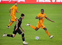 CARSON, CA - OCTOBER 28: Maynor Figueroa #15 of the Houston Dynamo moves with the ball during a game between Houston Dynamo and Los Angeles FC at Banc of California Stadium on October 28, 2020 in Carson, California.