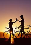 Early morning bike ride, Sierra Nevada, California.(model released)