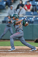 Charcer Burks #27 of the Boise Hawks bats against the Everett AquaSox at Everett Memorial Stadium on July 25, 2014 in Everett, Washington. Everett defeated Boise, 2-1. (Larry Goren/Four Seam Images)