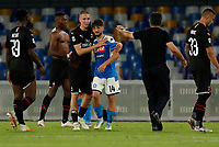 Simon Kjaer of Milan Dries Mertens of Napoli  during the  italian serie a soccer match,  SSC Napoli - AC Milan       at  the San  Paolo   stadium in Naples  Italy , July 12, 2020