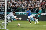 22.08.2019 Legia Warsaw v Rangers: Alfredo Morelos shoots but the offside flag is up