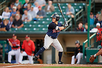 Scranton/Wilkes-Barre RailRiders left fielder Mark Payton (22) at bat during the first game of a doubleheader against the Rochester Red Wings on August 23, 2017 at Frontier Field in Rochester, New York.  Rochester defeated Scranton 5-4 in a game that was originally started on August 22nd but was was postponed due to inclement weather.  (Mike Janes/Four Seam Images)