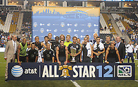 MLS All-Stars Team posing after the victory. The MLS All Stars Team defeated Chelsea FC 3-2 at PPL Park Stadium, Wednesday 25, 2012.
