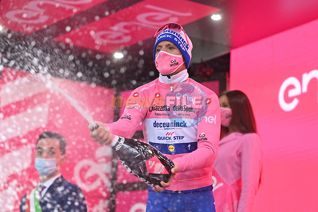 Race leader Joao Almeida (POR) Deceuninck-Quick Step retains the Maglia Rosa at the end of Stage 12 of the 103rd edition of the Giro d'Italia 2020 running 204km from Cesenatico to Cesenatico, Italy. 15th October 2020.  <br /> Picture: LaPresse/Gian Mattia D'Alberto | Cyclefile<br /> <br /> All photos usage must carry mandatory copyright credit (© Cyclefile | LaPresse/Gian Mattia D'Alberto)
