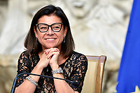 The Minister of Transports Paola De Micheli during the press conference at Palazzo Chigi, about the measures to contrast the Covid-19 pandemic at the reopening of the schools on September 14th.<br /> Rome (Italy), September 9th 2020<br /> Photo Pool Paolo Tre Insidefoto