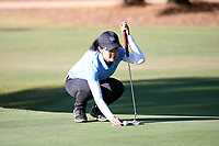 CHAPEL HILL, NC - OCTOBER 11: Jennifer Zhou of the University of North Carolina lines up a putt at UNC Finley Golf Course on October 11, 2019 in Chapel Hill, North Carolina.