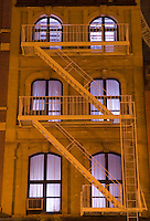 AVAILABLE FROM PLAINPICTURE FOR COMMERCIAL AND EDITORIAL LICENSING.  Please go to www.plainpicture.com and search for image # p5690219.<br /> <br /> <br /> Upward View of Illuminated Windows at Night, Tribeca, Lower Manhattan, New York City, New York State, USA