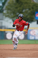 Erie SeaWolves center fielder Harold Castro (3) running the bases during a game against the Hartford Yard Goats on August 6, 2017 at UPMC Park in Erie, Pennsylvania.  Erie defeated Hartford 9-5.  (Mike Janes/Four Seam Images)