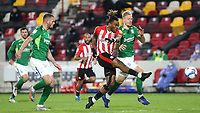 Ivan Toney of Brentford takes a shot at the Brentford goal during Brentford vs Birmingham City, Sky Bet EFL Championship Football at the Brentford Community Stadium on 6th April 2021