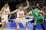Real Madrid´s Sergio Llull and Unicaja´s Kostas Vasileiadis during 2014-15 Liga Endesa match between Real Madrid and Unicaja at Palacio de los Deportes stadium in Madrid, Spain. April 30, 2015. (ALTERPHOTOS/Luis Fernandez)