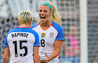 San Diego, CA - Sunday July 30, 2017: The U.S. Women's national team celebrate their winning goal by defeating Brazil 4-3 during a 2017 Tournament of Nations match between the women's national teams of the United States (USA) and Brazil (BRA) at Qualcomm Stadium.