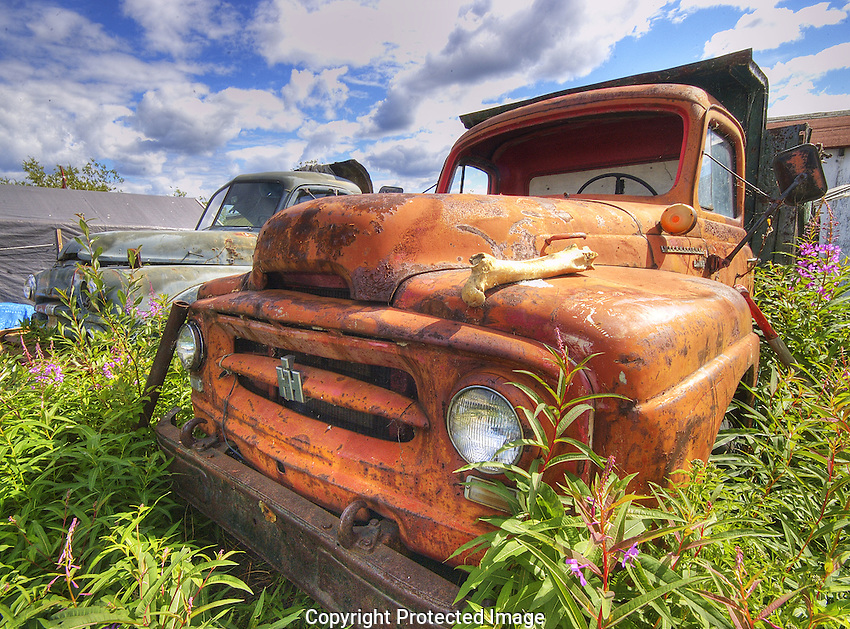 Old International Harvestor in the Woodyard area of Yellowknife