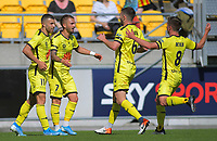 The Phoenix celebrate Reno Piscopo's goal during the A-League football match between Wellington Phoenix and Sydney FC at Sky Stadium in Wellington, New Zealand on Saturday, 21 December 2019. Photo: Dave Lintott / lintottphoto.co.nz