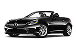 Stock pictures of low aggressive front three quarter view of a 2019 Mercedes Benz SLC Roadster SLC300 2 Door Convertible