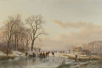 Frozen Canal near the River Maas - by Andreas Schelfhout, 1867