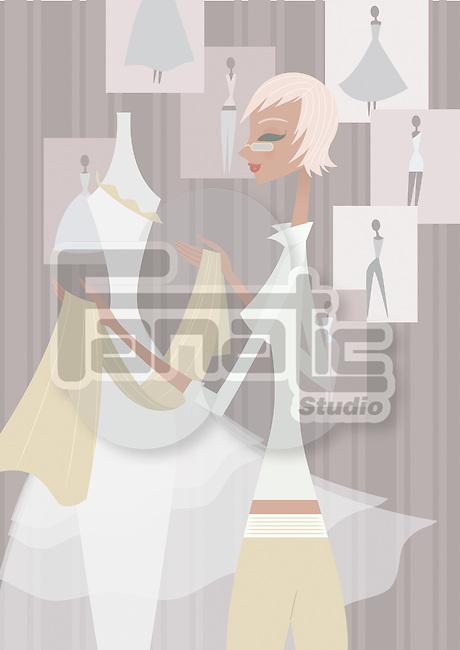 Female fashion designer in a boutique