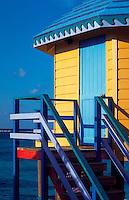 Colorful Compass Point beach resort cabin. Nassau, Bahamas.