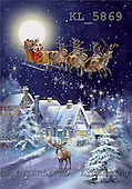 Interlitho, Simonetta, CHRISTMAS SANTA, SNOWMAN, paintings, sleigh in sky, deer, KL5869,#X# Weihnachtsmänner, Papá Noel, Weihnachten, Navidad, illustrations, pinturas klassisch, clásico