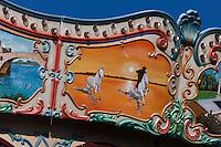 Europe/France/13/Bouches du Rhone/Camargue/Parc Naturel Régionnal de Camargue/Saintes Maries de la Mer: Détail Art Forain, détail d'un manège - Gardian