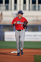 Fort Myers Miracle Trevor Larnach (9) during a Florida State League game against the Charlotte Stone Crabs on April 6, 2019 at Charlotte Sports Park in Port Charlotte, Florida.  Fort Myers defeated Charlotte 7-4.  (Mike Janes/Four Seam Images)
