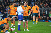 Wallabies captain Michael Hooper talks to referee Paul Williams during the Bledisloe Cup rugby match between the New Zealand All Blacks and Australia Wallabies at Eden Park in Auckland, New Zealand on Saturday, 7 August 2021. Photo: Dave Lintott / lintottphoto.co.nz