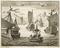 A variety of Chinese vessels / N Parr engraving in Salmon's Universal Traveller / 1752