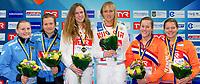 3.Synchro W. Podium (L to R) Freyer - Punzel GER Silver Medal, Ilinykh - Bazhina RUS Gold medal, Jansen - Wils NED Bronze medal<br /> 3m. Synchro Women Springboard<br /> LEN European Diving Championships 2017<br /> Sport Center LIKO, Kiev UKR<br /> Jun 12 - 18, 2017<br /> Day07 18-06-2017<br /> Photo © Giorgio Scala/Deepbluemedia/Insidefoto