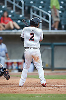 Ramon Torres (2) of the Birmingham Barons at bat against the Pensacola Blue Wahoos at Regions Field on July 7, 2019 in Birmingham, Alabama. The Barons defeated the Blue Wahoos 6-5 in 10 innings. (Brian Westerholt/Four Seam Images)