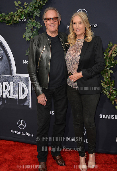 """Peter Fonda & wife Margaret Parky DeVogelaere at the world premiere of """"Jurassic World"""" at the Dolby Theatre, Hollywood.<br /> June 10, 2015  Los Angeles, CA<br /> Picture: Paul Smith / Featureflash"""