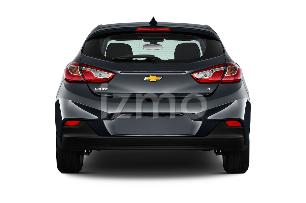 Straight rear view of 2017 Chevrolet Cruze LT 5 Door Hatchback Rear View  stock images