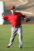 Blake Cooper #11 of the Visalia Rawhide before a game against the High Desert Mavericks at Stater Bros. Stadium on May 15, 2012 in Adelanto,California. (Larry Goren/Four Seam Images)