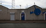 Hartlepool United 0 Sunderland 3, 20/07/2016. Victoria Park, Pre Season Friendly. external view of Victoria Park with graffiti saying 'Shit!' on an entrance gate. Photo by Paul Thompson.