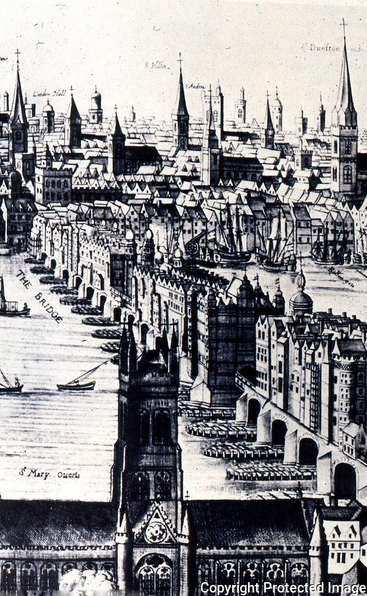 London: London Bridge, 1616 by Claes Janzoon Vischer, GUTKIND, VI, 457.   Reference only.