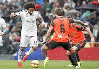 Real Madrid's Marcelo Vieira (l) and Real Sociedad's Inigo Martinez during La Liga match.January 31,2015. (ALTERPHOTOS/Acero) /NortePhoto<br /> /NortePhoto.com