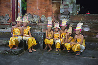 Dlod Blungbang, Bali, Indonesia.  Young Girls Wait to Perform a Dance in a Religious Ritual to Pray for a Bountiful Rice Harvest.