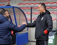 Head coach Stephane Guidi of Standard gives a hand to Head coach Tiziano Rutilo of Woluwe (L) before the start of a female soccer game between Standard Femina de Liege and White Star Woluwe on the fifth matchday of the 2021 - 2022 season of Belgian Scooore Womens Super League , saturday 2 nd of October 2021  in Angleur , Belgium . PHOTO SPORTPIX   SEVIL OKTEM
