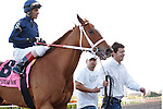 Inspired with jockey John Velazquez and connections after winning the  Ladies Turf Sprint, Gulfstream Park. Hallandale Beach, Florida. 03-04-2012